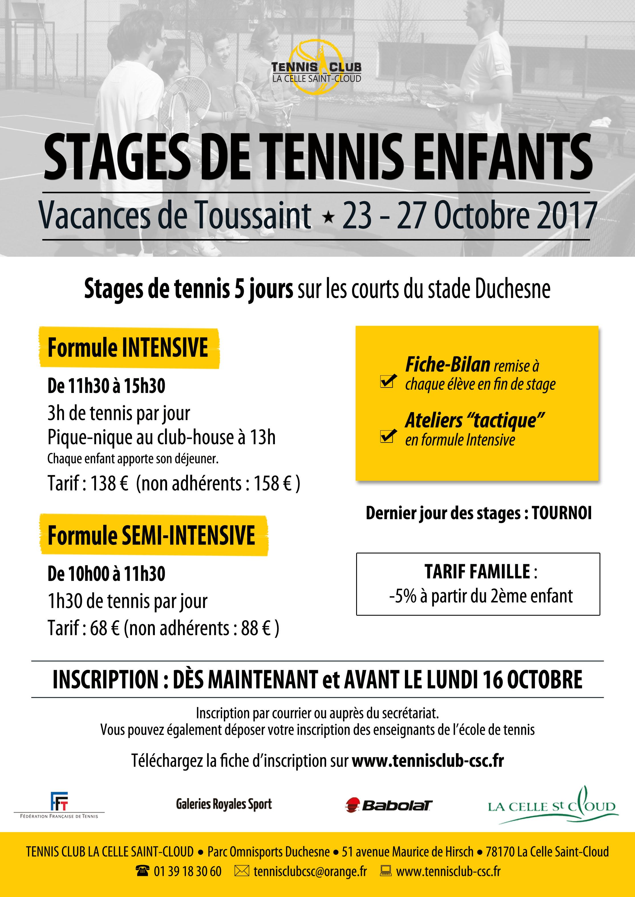 Toussaint affiche a4 tennis club la celle saint cloud for Cours de tennis en ligne