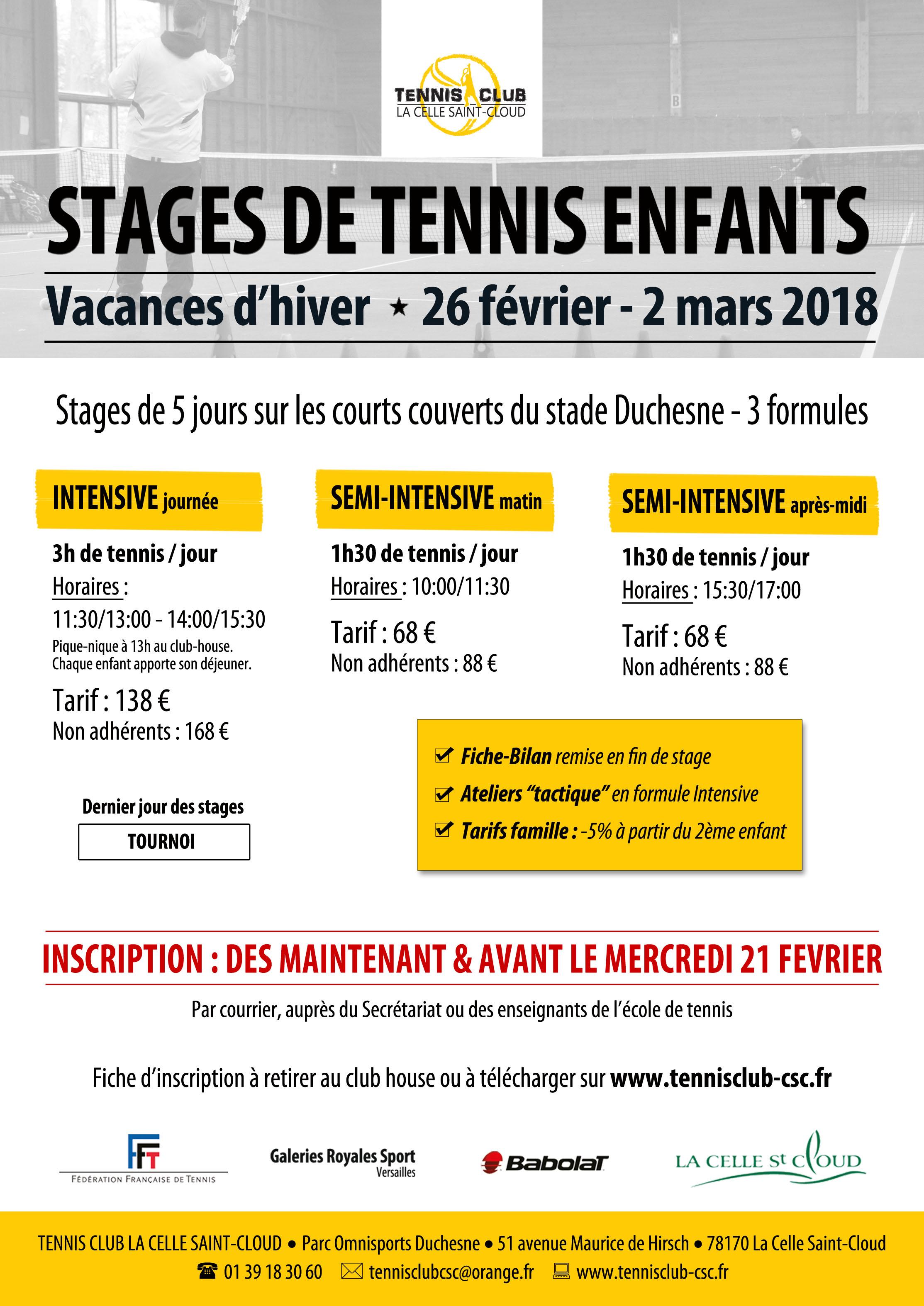 Les stages tennis club la celle saint cloud for Cours de tennis en ligne